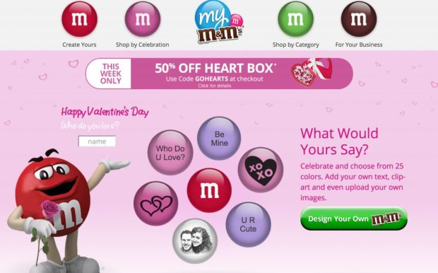 personalized M&M's are a great Valentines day surprise
