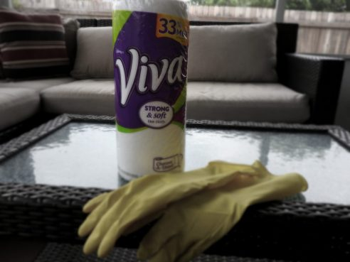 Viva Towels help to clean the patio area