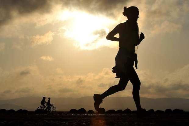 woman running at dusk