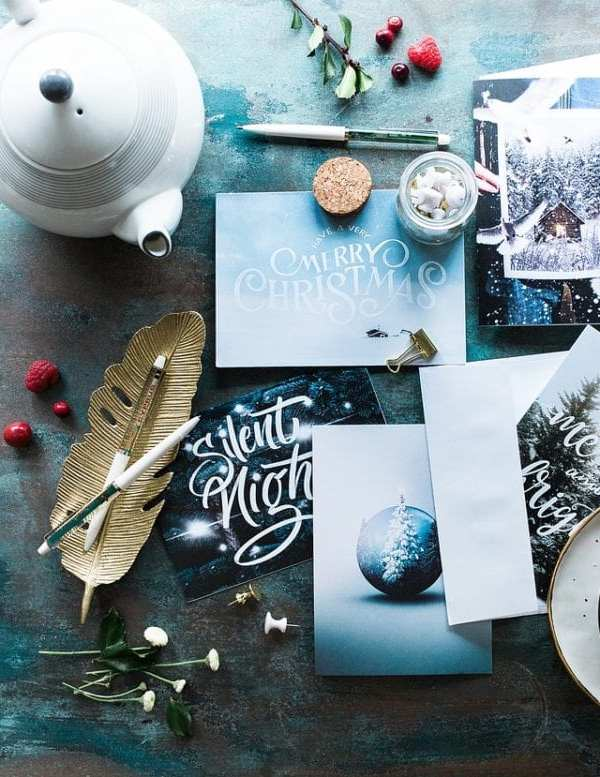 Christmas cards with teapot and stationary items