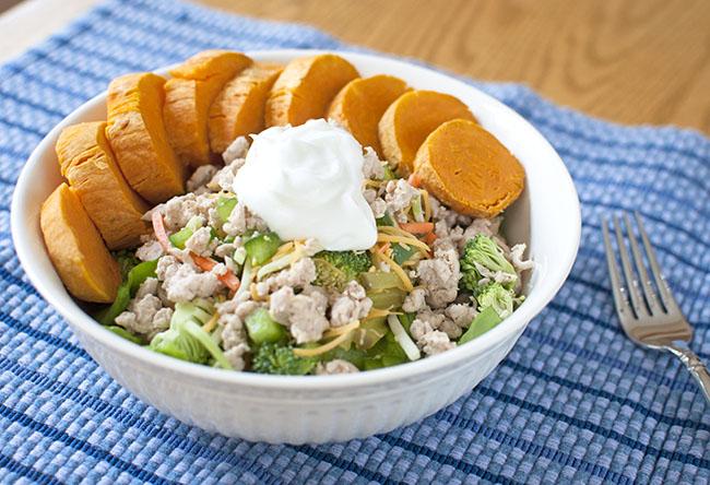 Salad with Ground Turkey + Sweet Potato