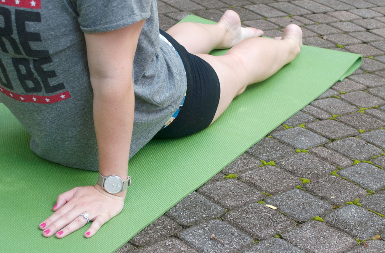 Wearing a Withings Activite Pop for Yoga in the Georgia Botanical Gardens