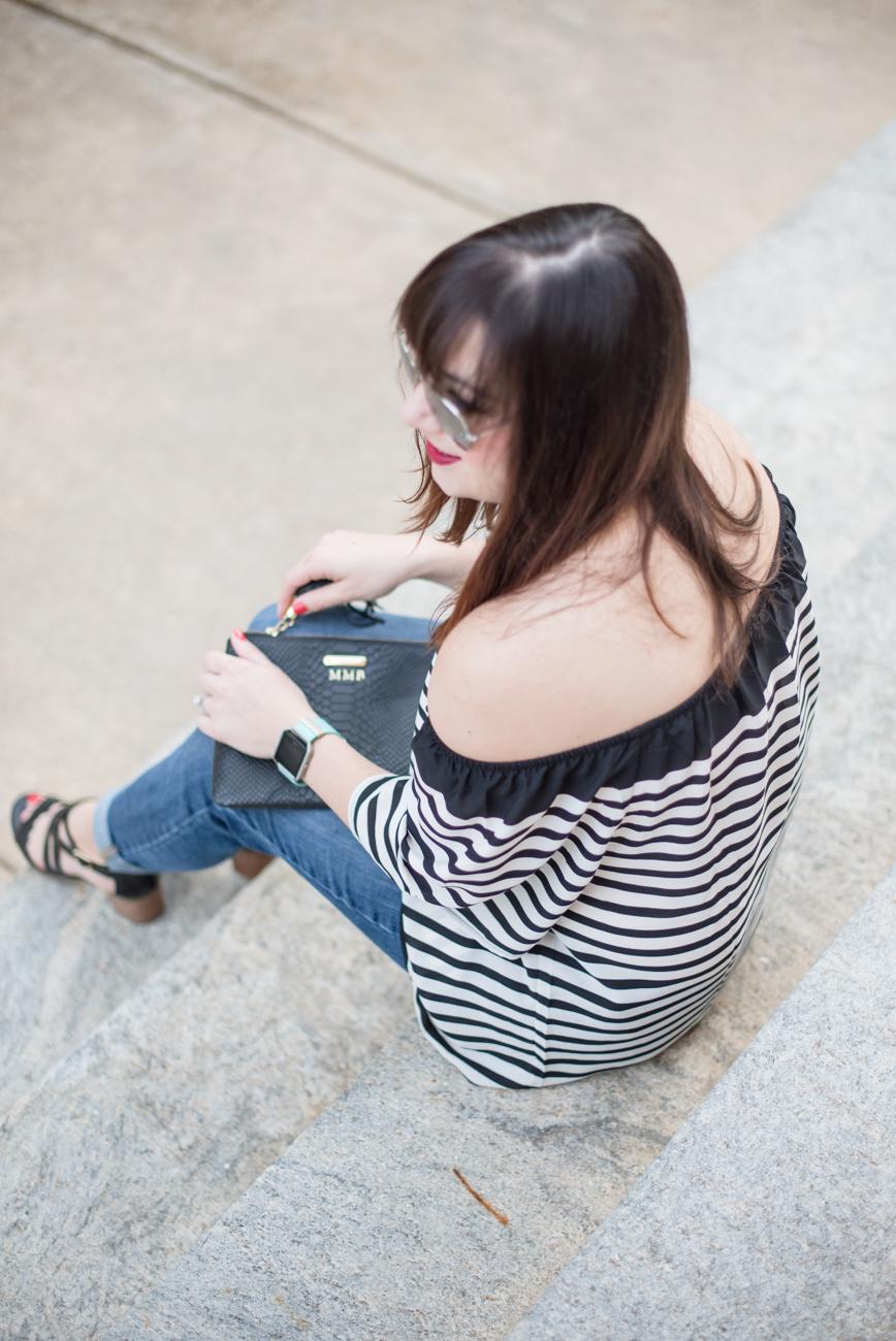 Striped off-the-shoulder Top, Black Strappy Sandals, Gap Girlfriend Denim