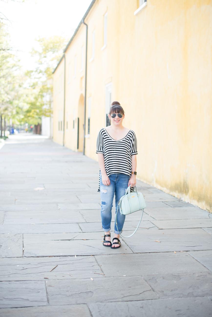 Teva Universal Slide, Gap Denim, Kate Spade Bag, Slouchy Striped Tee