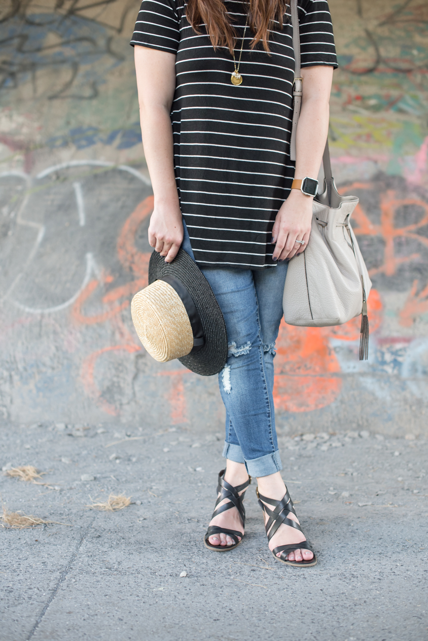 Styling a striped tee and a boater hat