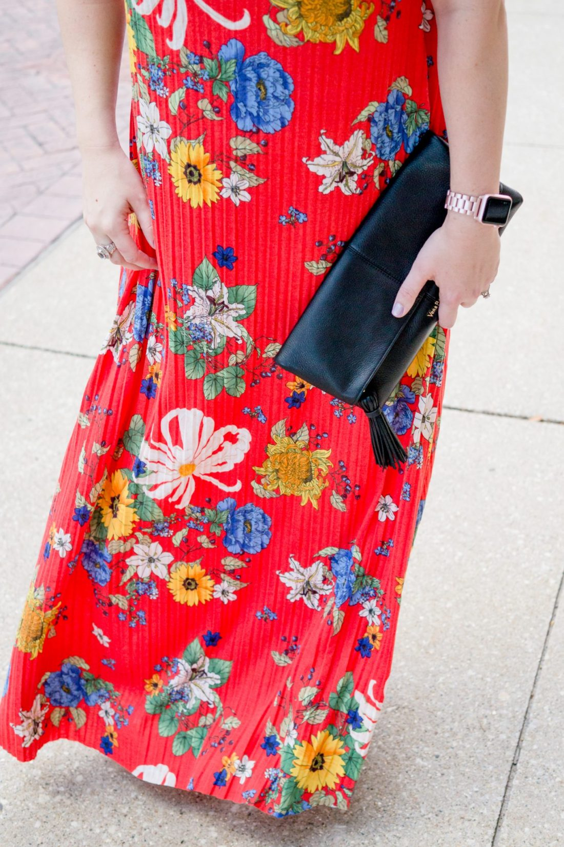 Summer Style: A Bright Floral Maxi Dress in Chicago