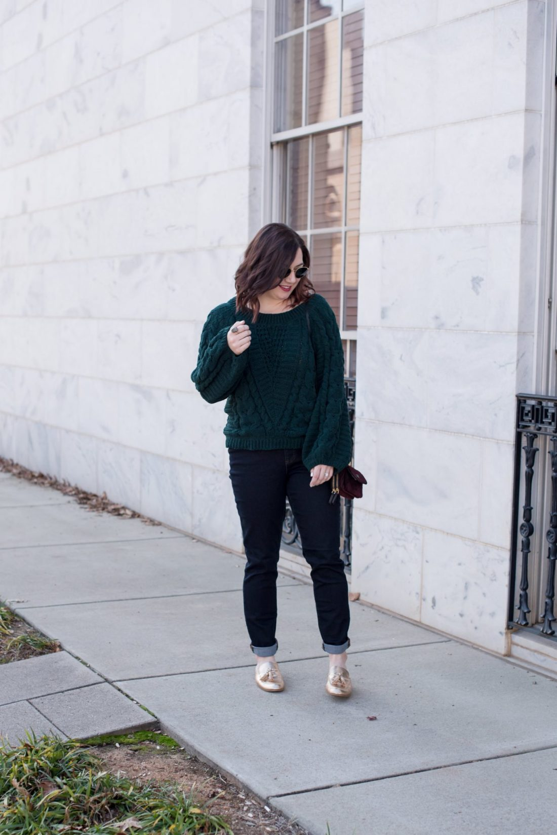 Must-Have Jewel Toned Sweaters // Miss Molly Moon | Cute Jewel toned sweaters featured by top US fashion blogger, Miss Molly Moon: image of a woman wearing an Express jewel tones sweater, Land's End jeans, Ray Ban sunglasses, Vera Bradley bag and Chinese Laundry mules