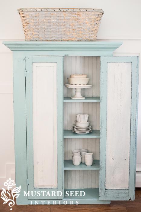 Eulalie's Sky Milk Paint Cabinet - www.missmustardseed.com