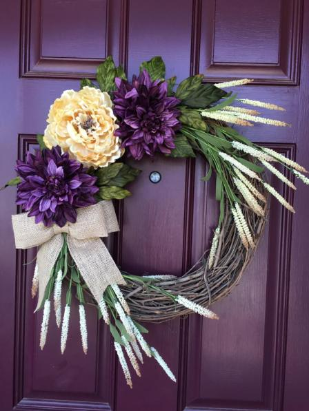 All seasons purple wreath for home decor