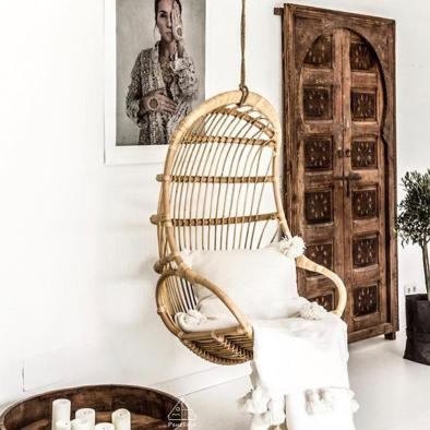 Bamboo and rattan elegant hanging chair
