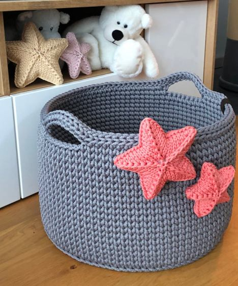 Blanket and toys storage crocket basket