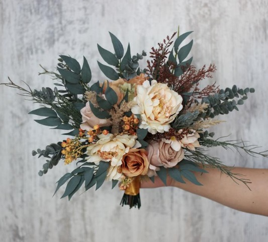 Boho bouquet Orange rust peach flowers Bridal bouquet Faux bouquet Fall wedding Silk flowers Boho wedding