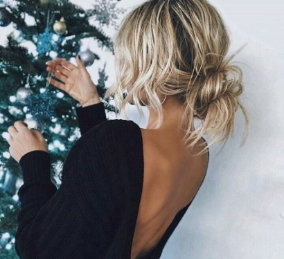 Bun hairstyle for medium hair length