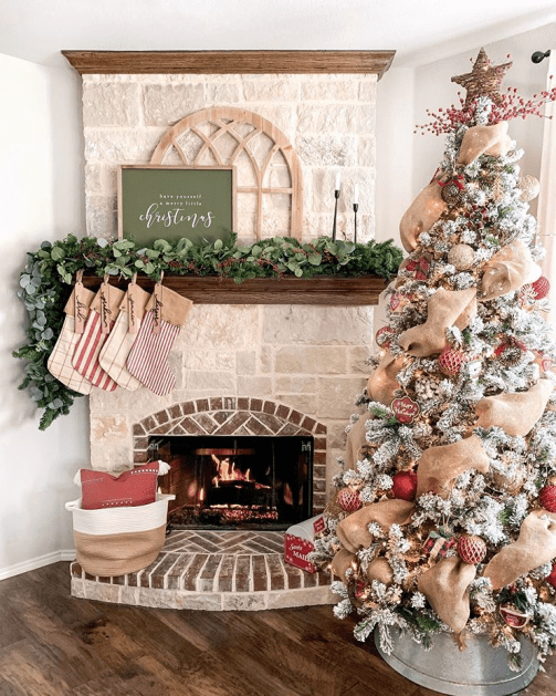 Burlap Christmas tree decoration and accessories for fireplace