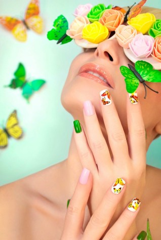 Colourful butterfly summer nails design idea