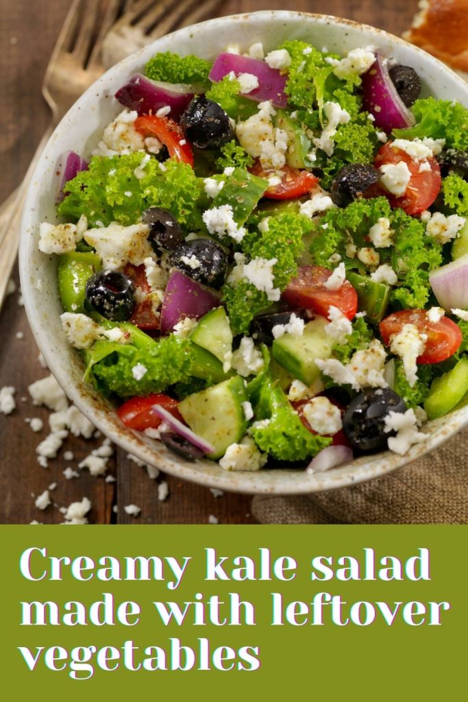 Creamy kale salad made with leftover vegetables