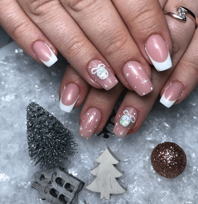 Cute winter medium length gel nail art