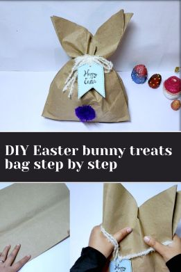 DIY Easter bunny treats bag step by step