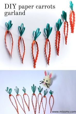 DIY paper carrots garland Easter craft