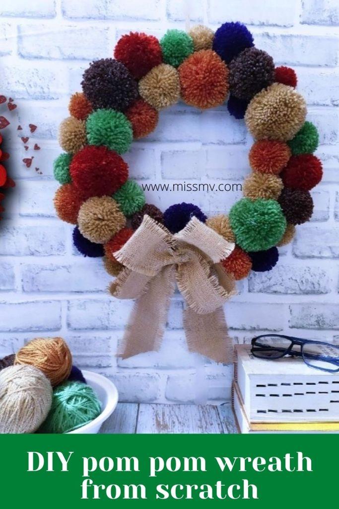 DIY pom pom wreath from scratch