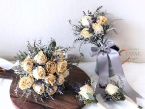 Dried roses and lavender wedding bouquet