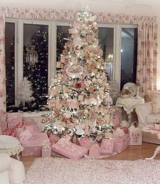Dusted pink colour Christmas tree decor