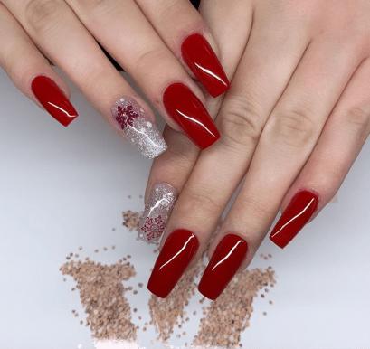 Elegant red long nails