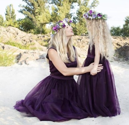 Family matching outfit purple tulle dress