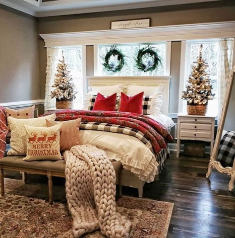 Farmhouse bedroom decor for Christmas and New Year