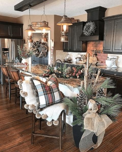 Farmhouse kitchen decor for Christmas