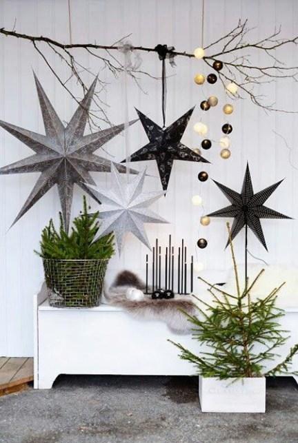 Festive Scandinavian entryway made with handmade Christmas decorations