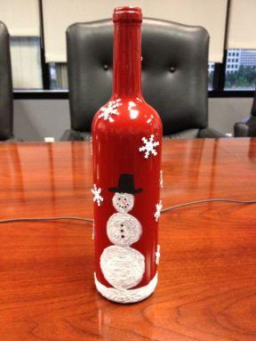Festive painted Bottle for Christmas
