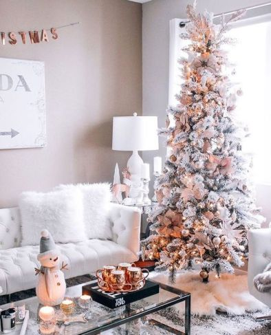 Flocked Christmas tree decorating idea