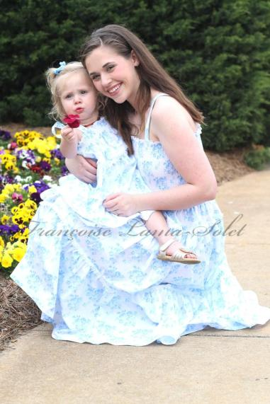 Floral blue dresses mother and daughter