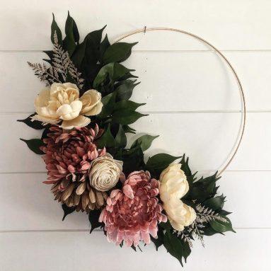 Front door floral fall wreath