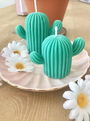 Handmade cactus shaped decorative candle