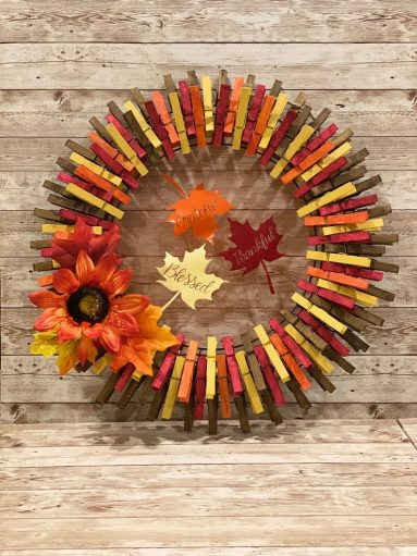 Handmade clothespin fall wreath