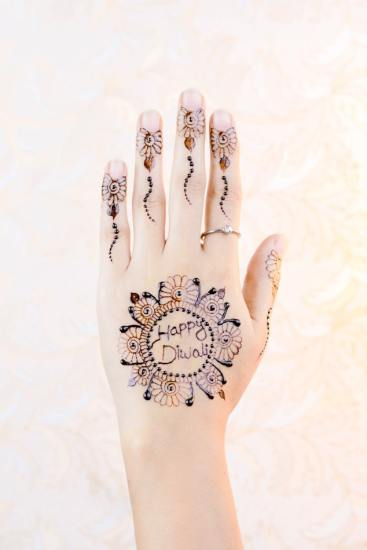 Happy Divali henna tattoo for kids