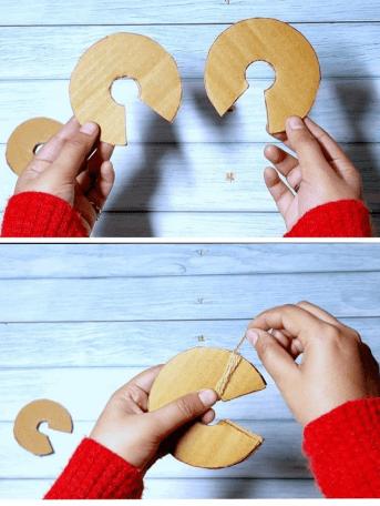 How do you make a pom pom out of cardboard