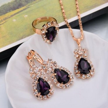 KABOER 1Set Necklace Earrings Ring Set for Women Christmas Jewelry Gifts Rose Gold Color Jewelry Sets with Imitation Ruby