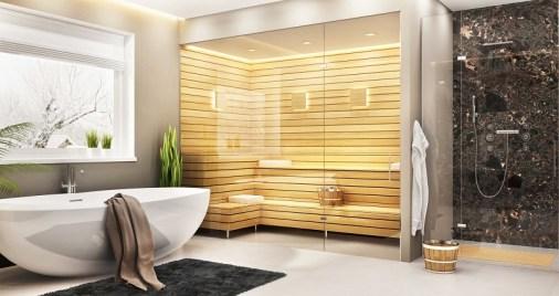 Luxury bathroom with sauna incorporated