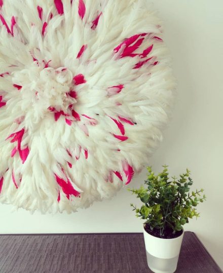 White and pink juju hat to add a patch of colour to the bedroom or lounge wall