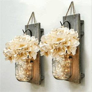 Mason Jar Wall Decor Sconces Rustic Hanging LED Fairy Lights Farmhouse Home