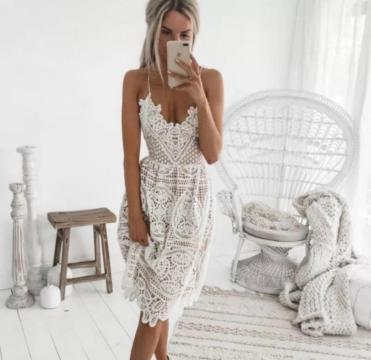 Midi Backless Lace Dress. Summer beach dresses that will make you feel like a goddess