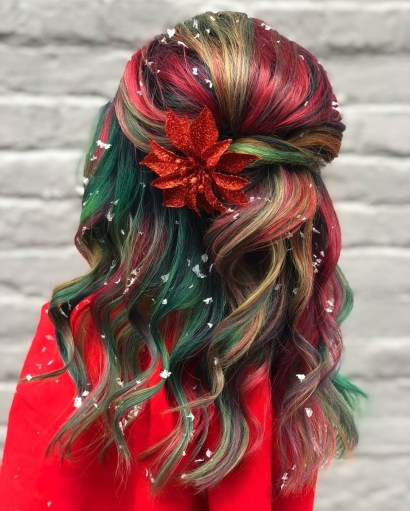 Multi Colourful balayage hair style for Christmas