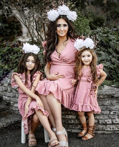 Mommy and me dusted pink dresses