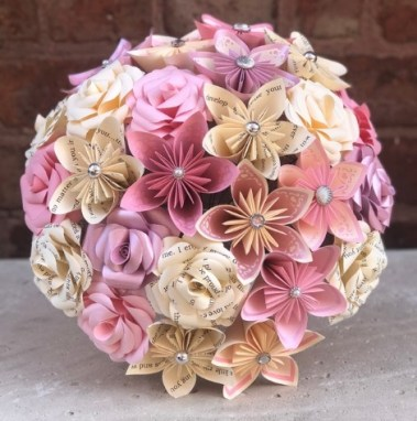 Paper flower bouquet for gift or bridal bouquet