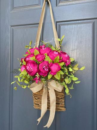 Peony farmhouse wreath for front door