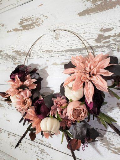 Pink Fall Wreath for front door