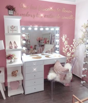 Pink makeup room setup with mirror with lights. Pink makeup desk setup decor ideas